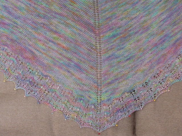 Oaklet Shawl Blocking1